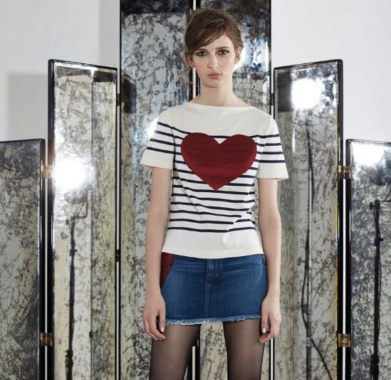Marc by Marc Jacobs Breton Sequin Heart T-Shirt