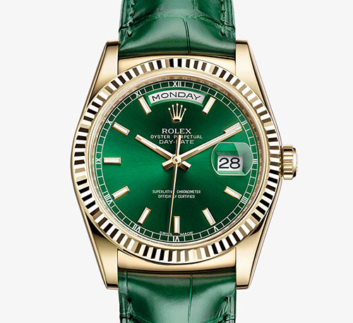 Rolex's Day-Date with green leather strap and face