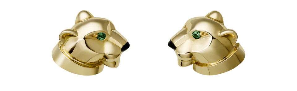 Cartier yellow gold panther head earrings