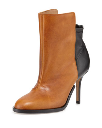 Maison Martin Margiela offers a Bicolor Stretch-Back Ankle Boot