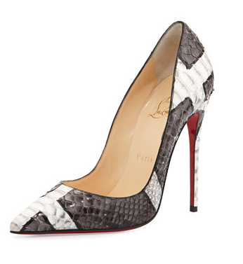 So Kate Python Red Sole Pump in Gray/White from Christian Louboutin