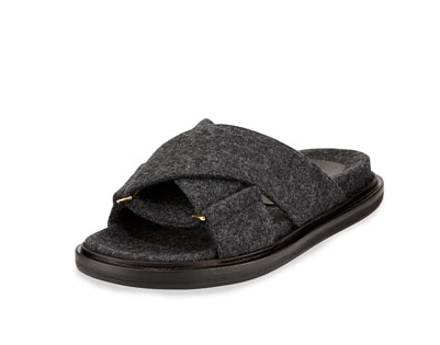 Flannel Crisscross Flat Slide Sandal from Marni
