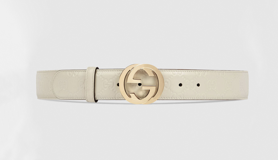3c83276b961 This classic Gucci style features an interlocking G buckle stud closure on  the classic Gucci belt