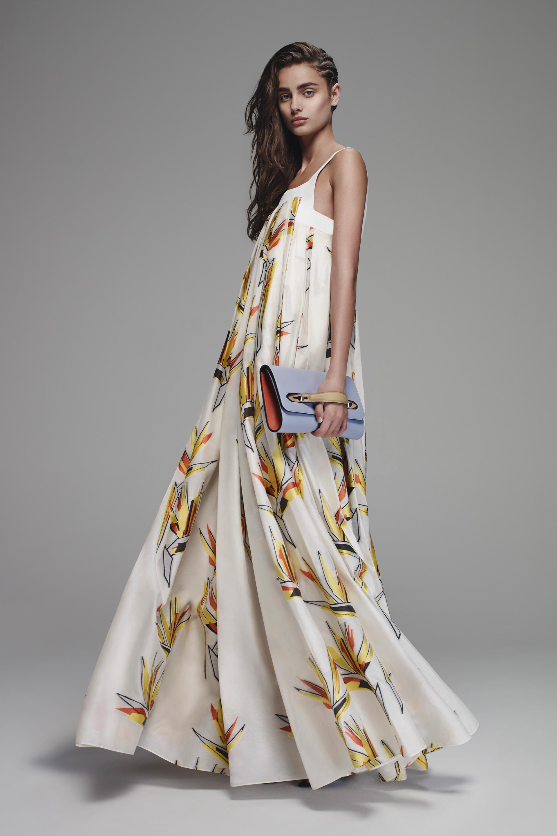 Fendi's floor length dress with birds of paradise print