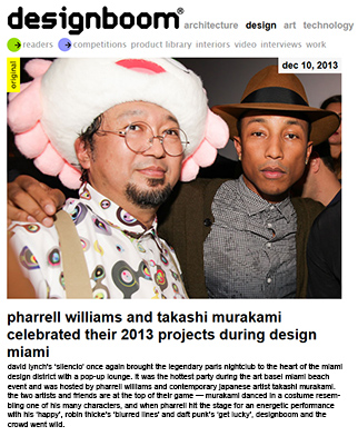 pharrell williams and takashi murakami celebrated their 2013 projects during design miami